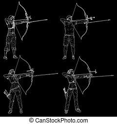 alvo, arqueiro, esboços, silhuetas, macho, jogo, arco, femininas, apontar, curvatura, atraente