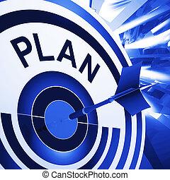 alvo, meios, planificação, plano, metas, missões