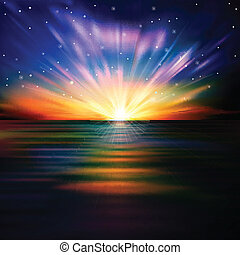 amanhecer, abstratos, mar, estrelas, fundo