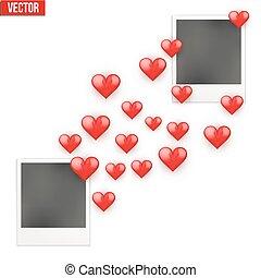 amantes, quadro fotografia, valentines, corações, enviado