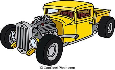 amarela, hotrod, engraçado
