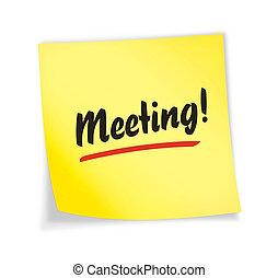 "amarela, ""meeting"", nota, pegajoso"