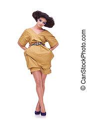 amarela, mulheres, vestido, bonito
