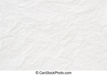 amarrotado, textura, papel, fundo, branca, ou
