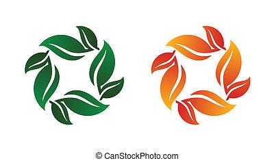 ambos, folha, primavera, ilustração, vetorial, outono, ícone, grupo