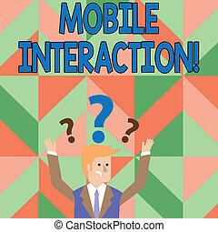 ambos, seu, foto, usuários, computadores, móvel, texto, mostrando, marcas, pergunta, braços, homem negócios, confundido, interação, acima, entre, conceitual, head., interaction., sinal, levantamento