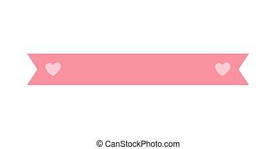 ame corações, ornamento, fita cor-de-rosa, ícone, decoração