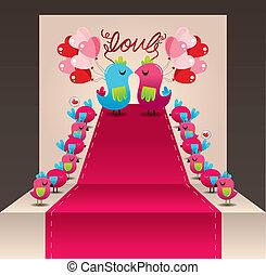 ame pássaro, cartão, casório