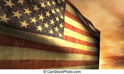 americano, (1040), soprando, pôr do sol, bandeira