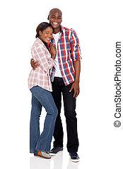 americano, africano, par, jovem