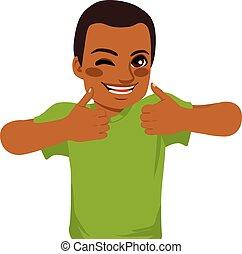 americano, africano, polegares cima, homem
