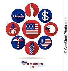 americano, elementos, desenho