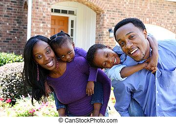 americano, família, africano