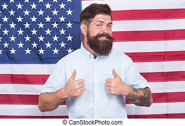 americano, homem, aparência, conceito, bandeira, poço, governo, fundo, groomed, hipster, trabalhando, elegante