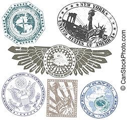 americano, jogo, selos