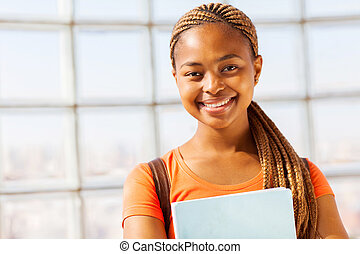 americano, menina jovem, africano