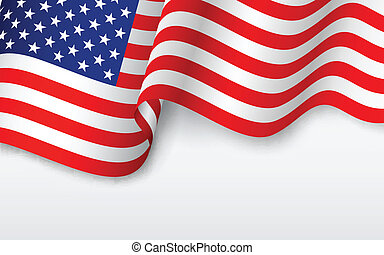americano, ondulado, bandeira
