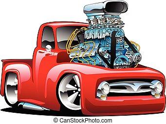 americano, quentes, isolado, caminhão, clássicas, caricatura, vara, vetorial, pickup, ilustração