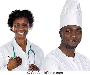 americano, trabalhadores, africano