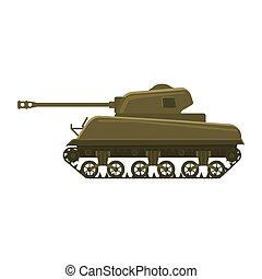 americano, vetorial, arma, tank., vista, silueta, símbolo, tanque, 2, lado, m4, exército, mundo, guerra, ilustração, batalha, militar, isolado, sherman, máquina, icon., guerra, médio