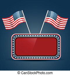 americano, vetorial, bandeira