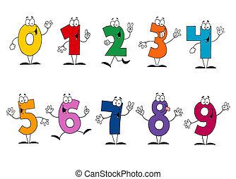 amigável, caricatura, números, jogo