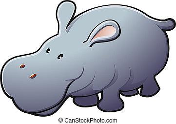 amigável, ilustração, cute, hipopótamo, vetorial