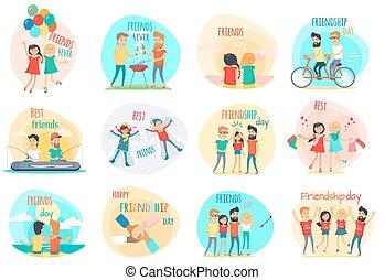 amigos, relations., vetorial, forever., amizade, melhor