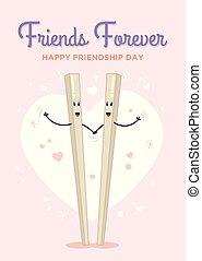 amizade, dia, feliz