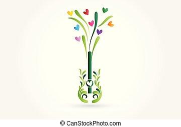 amor, árvore, guitarra, forma, corações, logotipo