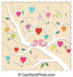 amor, árvore, pássaros, springtime