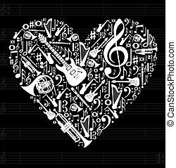 amor, conceito, música, ilustração