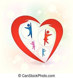 amor, família, proteção, vetorial, mãos, logotipo