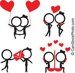 amor, figura, itens, par, silhuetas, vara, vermelho