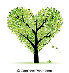 amor, folha, árvore, corações, valentine