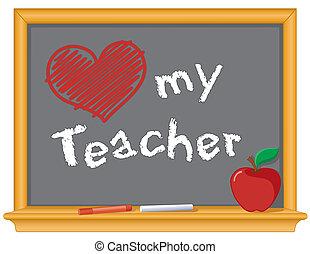 amor, meu, professor, quadro-negro