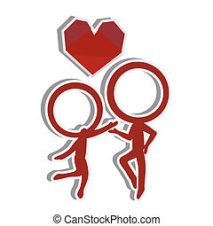 amor, par, silhuetas, figura, vara