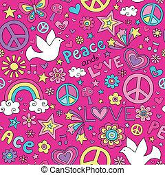 amor, paz, pomba, doodles, padrão