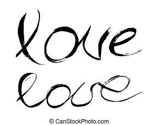 amor, pretas, manuscrito, lettering