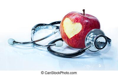 amor, -, saúde, maçã, conceito
