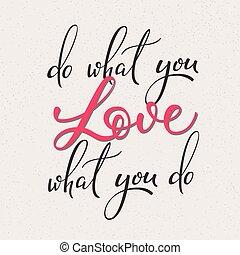 amor, vetorial, que, tu, lettering