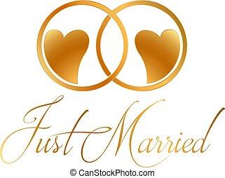 anéis, vetorial, desenho, casado apenas