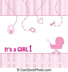 anúncio, nascimento, cartão