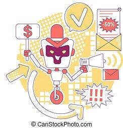 anúncio, spam, bot, desejado, newsletter., idéia, personagem, software, caricatura, design., enviando, vetorial, correio, illustration., automatizado, mau, 2d, teia, ai, anúncios, robô, magra, criativo, conceito, linha