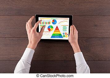 analisar, alimento, mão, diariamente, tabuleta, relatório