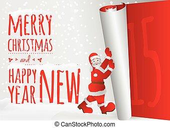 andar, antigas, cima, santa, ano, rolando, cartão natal