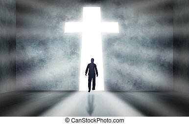 andar, crucifixos, homem