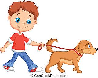 andar, cute, menino, caricatura, cão