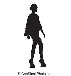 andar, moda, silueta, mulher, sapatos, isolado, alto, vetorial, calcanhares, modelo