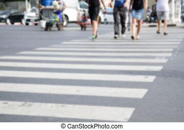 andar, pessoas, lote, crosswalk